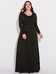 Damen Hülle Kleid-Lässig/Alltäglich / Übergröße Einfach Solide Rundhalsausschnitt Maxi Langarm Blau / Rot / Beige / Schwarz Polyester