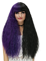 Women Synthetic Wig Capless Long Water Wave Black/Purple Halloween Wig Costume Wigs