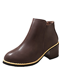 Women's Shoes PU Spring Fall Comfort Boots Low Heel Booties/Ankle Boots Zipper For Casual Black Brown Wine