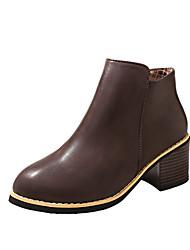 Feminino Sapatos Couro Ecológico Primavera Outono Conforto Botas Salto Baixo Botas Curtas / Ankle Ziper Para Casual Preto Marron Vinho