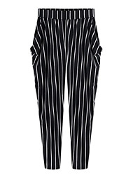cheap -Women's Slim Chinos Pants - Striped High Rise
