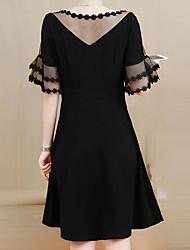 abordables -Femme Grandes Tailles Courte Robe Couleur Pleine Mi-long