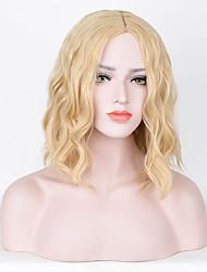 abordables -Perruque Synthétique Bouclé Coupe Lutin Au Milieu Cheveux de base de soie Blond Femme Sans bonnet Perruque de célébrité Perruque de fête