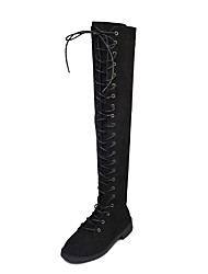 cheap -Women's Shoes Fabric Fall Winter Comfort Boots Low Heel Over The Knee Boots Lace-up For Casual Black