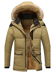 cheap -Men's Regular Padded Coat,Casual Daily Plus Size Solid-Cotton Acrylic Polyester Polyester Long Sleeves