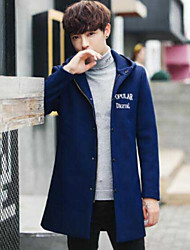 Men's Casual/Daily Simple Winter Coat,Letter Hooded Long Sleeve Long Others