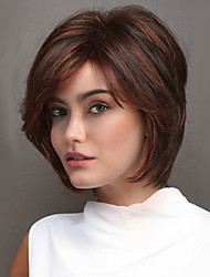 Women Synthetic Wig Capless Medium Length Straight Auburn Highlighted/Balayage Hair Layered Haircut With Bangs Natural Wigs Costume Wig