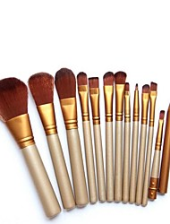 YZIMENG® 12pcs Gold Makeup Brush Set Blush/Concealer/Powder/Lip/Eyeshadow/Brow Synthetic Hair Professional Travel Full Coverage Make Up for Face