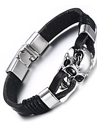 cheap -Men's Leather Bracelet Hip-Hop Rock Leather Titanium Steel Skull / Skeleton Jewelry For Party Birthday Gift Evening Party
