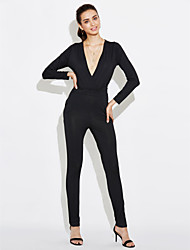 Women's Slim JumpsuitsGoing out Club Sexy Simple Corrugation Solid Deep V Long Sleeve Mid Rise Polyester Micro-elastic Spring Fall