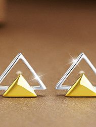 cheap -Women's Sterling Silver Stud Earrings - Personalized / Fashion Yellow Triangle Earrings For Casual / Office & Career