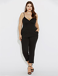 Women's Solid Casual Backless Large Size Sexy Jumpsuits,Plus Size / Simple Strap Sleeveless