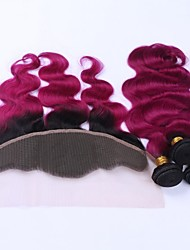cheap -Indian Hair Body Wave Hair Weft with Closure Human Hair Weaves Black / Dark Wine Human Hair Extensions
