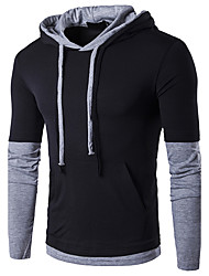 cheap -Men's Daily Going out Casual Active Spring Fall T-shirt,Color Block Hooded Long Sleeves Cotton Medium