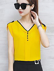 cheap -Women's Daily Casual Blouse,Solid V Neck Sleeveless Others