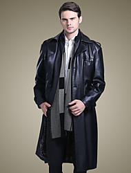 cheap -Men's Daily Chinoiserie Winter Trench Coat,Solid Stand Long Sleeve Long Lambskin