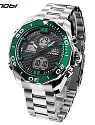 Недорогие -SINOBI Муж. Спортивные часы / Наручные часы Японский LED / Cool Нержавеющая сталь Группа Роскошь / На каждый день Серебристый металл