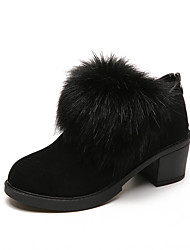 Women's Shoes Fabric Fall Winter Comfort Boots Low Heel Booties/Ankle Boots For Casual Green Black