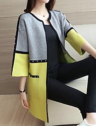 Longue Cardigan Femme Décontracté / Quotidien Couleur Pleine Rayé Col Rond Claudine Manches Longues Coton Automne Moyen Micro-élastique