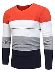 Standard Pullover Da uomo-Casual Semplice Monocolore A V Manica lunga Cotone Poliestere Autunno Inverno Medio spessore Media elasticità