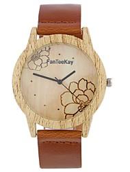 abordables -Hombre Mujer Cuarzo Reloj de Pulsera Chino Gran venta Piel Banda Encanto Flor Vintage Casual Reloj creativo único Madera Elegant Moda