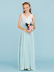 cheap -Sheath / Column V Neck Floor Length Chiffon / Lace Junior Bridesmaid Dress with Sash / Ribbon / Pleats by LAN TING BRIDE® / Wedding Party / Open Back / Color Block