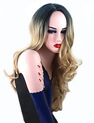 abordables -Perruque Synthétique Ondulation naturelle Au Milieu Ligne de Cheveux Naturelle Racines foncées Cheveux de base de soie Blond Femme Sans