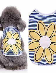 preiswerte -Hund T-shirt Weste Hundekleidung Party Lässig/Alltäglich Modisch Blumen/Pflanzen Blau Kostüm Für Haustiere