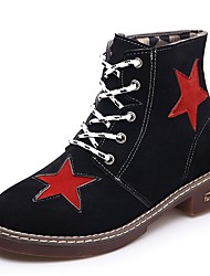 Women's Shoes Suede Winter Combat Boots Boots Flat Heel Round Toe Lace-up For Casual Dress Red Brown Black