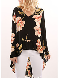 cheap -Women's Polyester Blouse - Floral, Ruffle V Neck