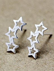 baratos -Mulheres Estrela Prata de Lei Brincos Curtos - Personalizada Fashion Estrela Para Diário Casual