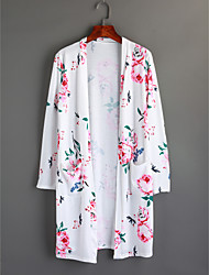 baratos -Mulheres Longo Casaco Longo Para Noite Moda de Rua Outono Poliéster Decote Redondo Estampado