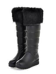 Damen Schuhe Feder / Pelz PU Herbst Winter Komfort Neuheit Modische Stiefel Stiefel Keilabsatz Runde Zehe Mittelhohe Stiefel Feder Für