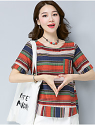 cheap -Women's Daily Vintage Blouse,Striped Houndstooth Round Neck Short Sleeves Cotton Linen