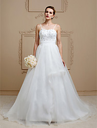 A-Line Princess Spaghetti Straps Court Train Organza Wedding Dress with Beading Flower(s) Sash / Ribbon by LAN TING BRIDE®