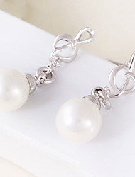 cheap -Women's Music Notes Imitation Pearl Silver Plated Drop Earrings - Personalized / Simple Style Silver Round Earrings For Party / Engagement