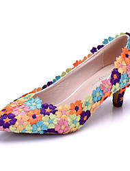 cheap -Women's Shoes PU Spring Fall Comfort Novelty Wedding Shoes Low Heel Pointed Toe Appliques Flower for Wedding Party & Evening Purple
