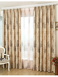 Rod Pocket Grommet Top Double Pleated Pencil Pleated Curtain Contemporary , Botanical Bedroom Material Blackout Curtains Drapes Home