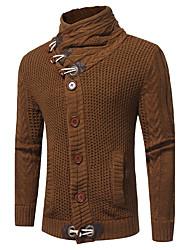 Standard Cardigan Da uomo-Per uscire Casual Semplice Tinta unita Colletto alla coreana Manica lunga Cotone Autunno Inverno Medio spessore
