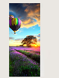 cheap -3D Hot-Air Balloon Door Mural Sticker Romance Florals Lavender Wall Stickers Decorative 3D Large Size 77*200cm Paper Material Home Decoration
