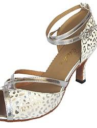 Women's Latin PU Sandal Indoor Customized Heel Silver