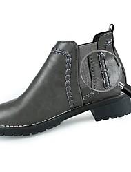 baratos -Mulheres Sapatos Couro Ecológico Outono / Inverno Coturnos Botas Salto Robusto Ponta Redonda Elástico para Preto / Cinzento