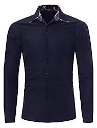 cheap -Men's Daily Plus Size Boho Street chic Winter Fall Shirt,Geometric Color Block Check Shirt Collar Long Sleeves Polyester Medium