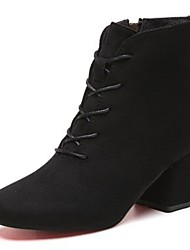 Women's Shoes Flocking Leatherette PU Fall Comfort Boots Chunky Heel Square Toe Mid-Calf Boots Lace-up For Casual Black Blushing Pink