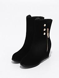 Women's Boots Comfort Novelty Bootie Fall Winter Leatherette Casual Office & Career Zipper Wedge Heel Black 3in-3 3/4in
