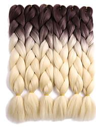 "Jumbo Hair Braid Crochet Ombre Braiding Hair 100% Kanekalon Hair Grey Black/Green Black/Blue Black/Red Medium Brown 24"" 4 Pieces Braiding"