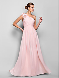 Sheath / Column One Shoulder Floor Length Chiffon Prom Dress with Flower(s) Ruching by TS Couture®