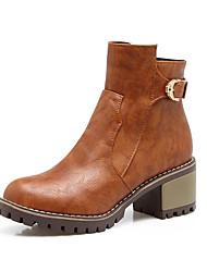 Damen Schuhe Kunstleder Herbst Winter Modische Stiefel Stiefeletten Stiefel Blockabsatz Runde Zehe Booties / Stiefeletten Schnalle