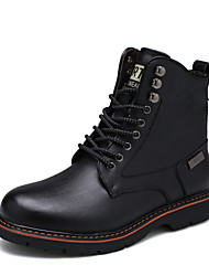 cheap -Men's Oxfords Snow Boots Combat Boots Fall Winter Real Leather Leather Casual Outdoor Office & Career Party & Evening Rivet Lace-up Low