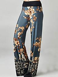 Da donna A vita alta Vintage Attivo Media elasticità A zampa Chino Pantaloni,A zampa Fantasia floreale
